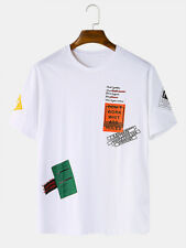 Mens Funny Label Print Breathable Crew Neck Short Sleeve White T-Shirts