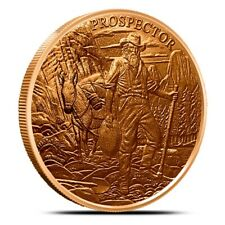 PROSPECTOR 1 OZ .999 COPPER BULLION COIN ROUNDS BY PROVIDENT MINT
