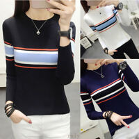 Women Crew Neck Pullover Jumper Stripe Slim Fit Knitted Sweater Shirt Blouse Top