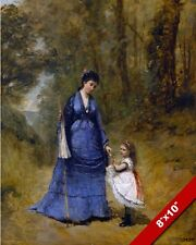 MOTHER & DAUGHTER OUT FOR A WALK 1800'S FRENCH PAINTING ART REAL CANVAS PRINT