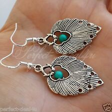 Tibetan Silver & Natural Turquoise stone 925 Sterling Silver Hook Leaf Earrings