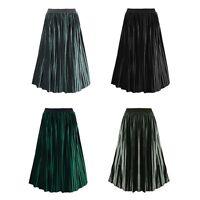 Ladies Boho Velet Pleated Long Army Green Skirt Womens Full Length Skater Dress