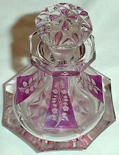 """OCTAGONAL GLASS PERFUME BOTTLE CRANBERRY ETCHED FLORAL PANELS FACETED STOPPER/4"""""""