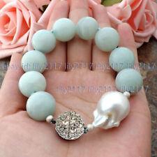 Huge Natural 14MM Amazonite Round Gems&White Keshi Baroque Pearl Bracelet 7.5''
