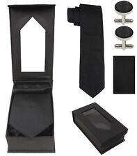 Necktie Cufflink Handkerchief Set Combo Plain Color & Designer Tie Cufflink Set