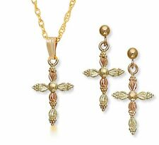 Landstrom's Ladies Black Hills 10K Gold Cross Jewelry Set w/ Balll Studs