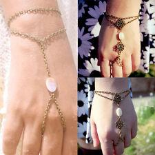 Bronze Shell Carving Bracelet Bangle Slave Chain Link Finger Ring Hand Harness