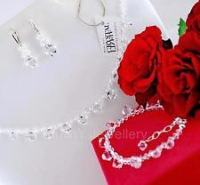 925 Conjunto de Plata Collar/Pendientes Pulsera Cristales de Swarovski ® Bicono