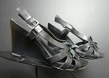 Women's ECCO Black Leather Floral Slingback Wedge Sz. 39/8.5 Excellent