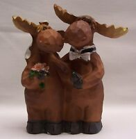 Wedding Moose Bride & Groom Figurine / Cake Topper Home & Cabin Decor (EAK)