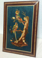 Wood Marquetry Wall Hanging Bird Exceptional Quality On Solid Mahogany