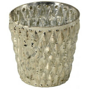 Distressed Glass Tea Light Holder 10cm Christmas Decorations Ladies Gifts