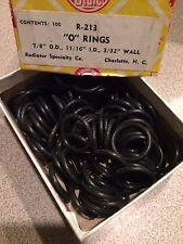 "NOS Box of 100 O-Rings 7/8"" OD, 11/16"" ID, 3/32 "" Wall--Radiator Specialty-USA"