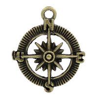 30 Bronzefarben Rund Kompass Charms Anhänger 30x25mm B23101