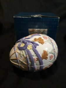NIB Fitz and Floyd Essentials Easter Promo Candy Dish Lidded Box Easter Egg