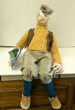 """New listing Art Ooak Old Man Doll Sculpture Golf Course With Hat and Village Hand Flier 24"""""""