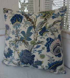 60CM Mustard & Blue Jacobean Flowers Linen Look Hamptons Coastal Cushion Cover