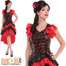 Spanish Senorita Ladies Fancy Dress Flamenco Dancer National Dress Adult Costume
