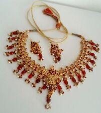 INDIA UNIQUE BOLLYWOOD JAIPURI JEWELRY KUNDAN ENAMEL BRIDAL NECKLACE EARRING #83