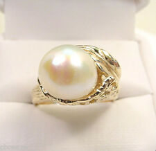 SOUTH SEA PEARL 10 mm  VINTAGE STULLER 14K GOLD RING