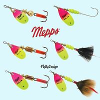 - Firetiger /& Chartreuse//Black MEPPS Aglia Double Blade Spinners 5//16 oz 2