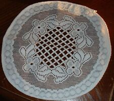 "9"" white Round doilies Centre Square design 100% polyester only 2  for £1.25"