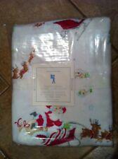NEW Pottery Barn Kids SANTA'S SLEIGH Twin Flannel Duvet Cover Christmas