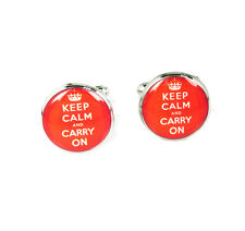 Vintage Silver Keep Clam And Carry On Jewelry Wedding Xmas Gift Men Cufflinks