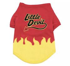 CUTE DOG PET PUPPY HALLOWEEN LITTLE DEVIL RED YELLOW T-SHIRT TOP JUMPER VEST!