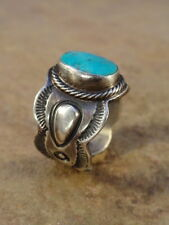 Beautiful Navajo Sterling Silver & Turquoise Cigar Band Ring sz 8