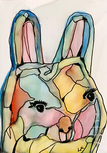 """ACEO original animal Rabbit outlined painting by Lynne Kohler 2.5x3.5"""""""