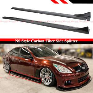 For 09-14 Infiniti G37 G25 Q40 Sedan Carbon Fiber Side Skirt Extension Splitters