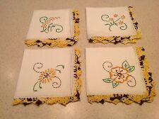 Lot of 4 Vintage Ladies Handkerchiefs Embroidered, Crochet, Lace, Floral EUC