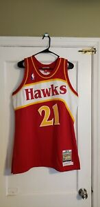 100% Authentic Dominique Wilkins Mitchell & Ness 86/87 Hawks Jersey Size 44 L