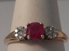 19G LADIES 9CT GOLD RUBY AND  DIAMOND DRESS RING SIZE O