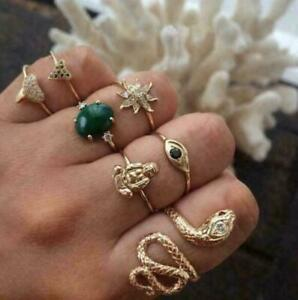 New Fashion Snake Flower Gold Plated Gift Party Rings  Women Jewelry 7pcs/set