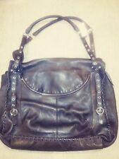 Vintage (80's?) Furla Lg Leather Tote Bag/Purse, Espresso, Silver Trim, NWT