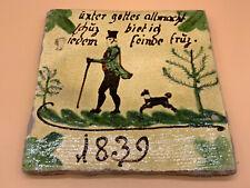 ANTIKE BIEDERMEIER KACHEL BAUERN-FLIESE MITTE 19-TES JH KERAMIK GOTTES ALLMACHT