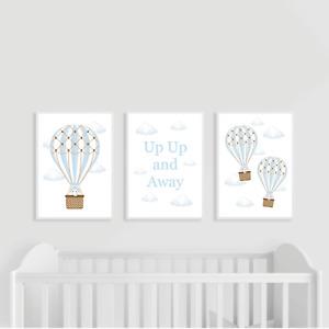 Hot Air Balloon Nursery Prints, Set of 3, Blue, Boy, Up Up and Away, Elephant