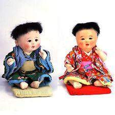2 Mid Century Ichimatsu Baby Boy&Girl Ningyo Japan China Gofun Doll 1940s kimono