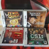 NINTENDO DS BUNDLE X4 GAMES CSI ,SHERLOCK HOLMES ,JEWEL QUEST,DEAL OR NO DEAL