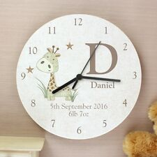 Personalised Childrens Kids Bedroom Clock Animal Giraffe Shabby Wooden Clock