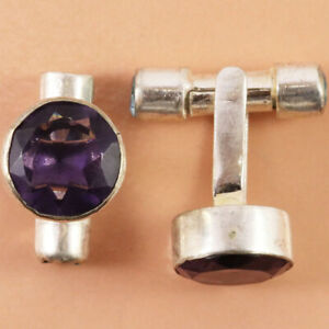 Women's Mens's Silver Amethyst Quartz  Ethnic 925 Silver Jewelry Cufflink 1''