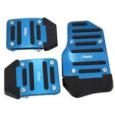 Car SUV 3 Pcs Manual & Automatic Accelerator Brake Clutch Blue Aluminum Pedals