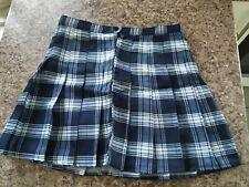 Womens Girls Navy/White Printed Tartan Plaid Mini Skirt Skort