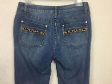Cache Woman's Blue Denim Jeans Size 6 Cheetah Animal Print Stretch Boot Cut