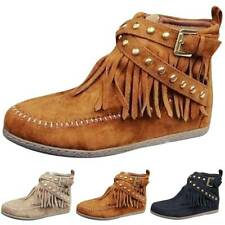 Women Moccasin Boots Flat Suede Fringed Ankle Booties Winter Warm Shoes Size NEW