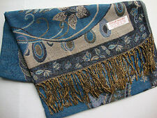 NEW Pashmina Winter Scarf Scarves Silk Teal Aqua Beige Floral Shawl Wrap Range