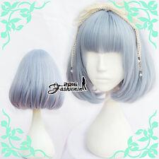 "Lolita 12"" Short Wavy Gray Blue Bob Harajuku Cosplay Women Wig Heat Resistant"