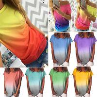 Plus Size Women Summer Short Sleeve Gradient Casual Beach T Shirt Tops Blouse XL
